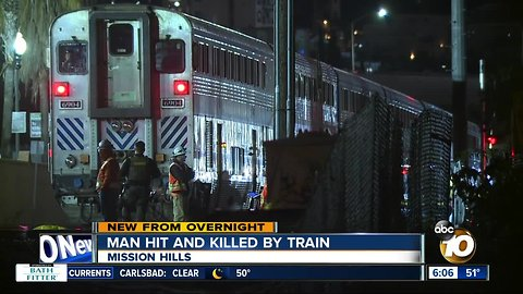 Man struck, killed by train in Mission Hills area