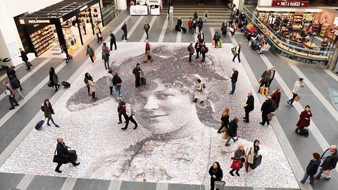 Giant suffragette portrait made of selfies wows crowds in Birmingham