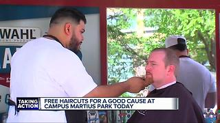 Free beard trims for a good cause at Campus Martius - Video