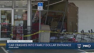 Van crashes into Family Dollar, pedestrian injured