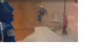 Thrillseeker Pulls Off Ski Jump on Streets of Snowbound Italian Town - Video