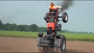 Young farmer pulls off impressive tricks with a tractor
