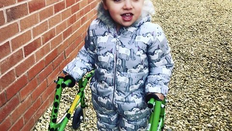 Mum shouts outs in joy as 4 year old daughter who was never expected to survive takes first steps unaided