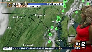 Slight chance of scattered showers with increased humidity Monday