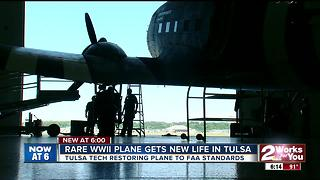 Rare WWII Plane gets new life in Tulsa - Video