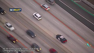 Los Angeles police in high speed chase with suspected robbers