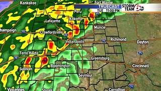 Rain & isolated t'storms tonight. Cooler Wednesday. - Video
