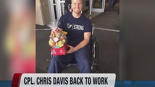 Boise Police Officer Corporal Chris Davis returns to work - Video