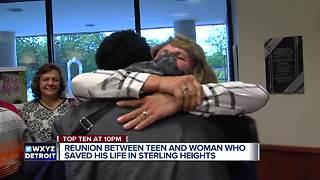 Reunion between teen and woman who saved his life - Video