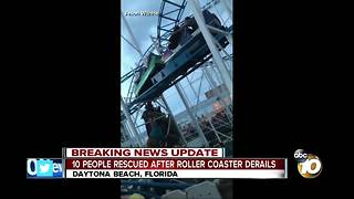 10 rescued after roller coaster derails - Video
