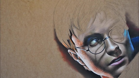Hyperrealistic speed painting of Harry Potter
