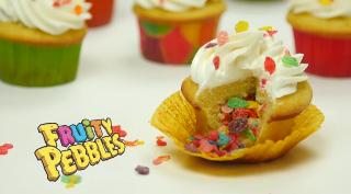Fruity Pebbles Filled Cupcakes - Video