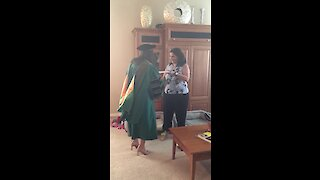 She just graduated pharmacy school, so here's her at-home graduation ceremony