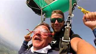 70-Year-Old Dad Takes Skydiving Adventure on Birthday - Video