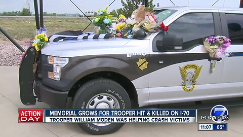 Memorial grows for CSP trooper hit and killed on I-70