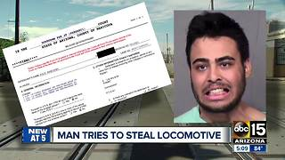 Man tries to steal locomotive - Video