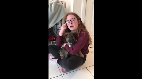 Sisters in tears after new puppy surprise