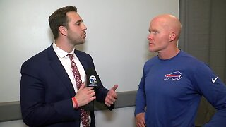 Matt Bove talks with Bills head coach Sean McDermott following the team's 26-15 win over the Cowboys