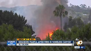Neighbors fearful after fires in 'homeless canyon' - Video