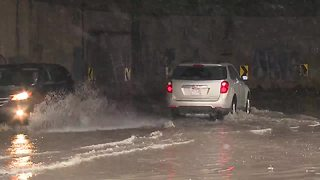 Canal Road flooding behind Tower City - Video