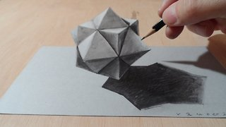 Drawing 3D Cuboctahedron, Optical Illusion - Video
