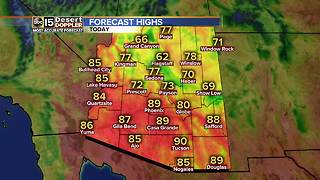 Highs stay in the upper 80s in Phoenix