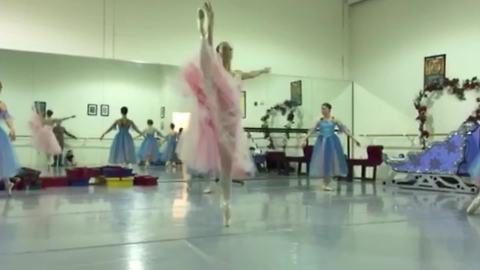 A Ballerina Does Spins and Kicks, But Then She Slips and Falls