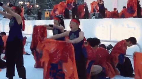 Dancers Strip to Underwear Before Giant Ice Sculpture at Japanese Festival