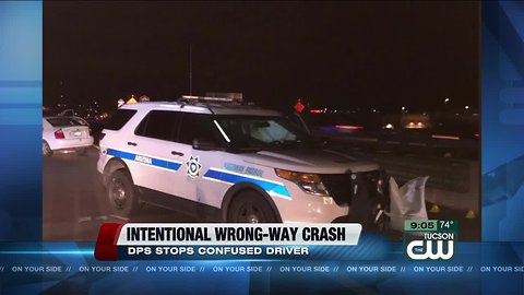 Trooper intentionally collides with wrong-way driver