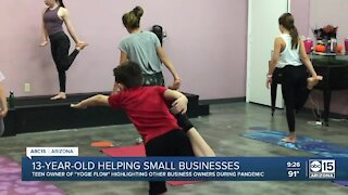 13-year-old girl helping small businesses