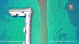 Drone footage shows two ports side-by-side, but 2,500 years apart