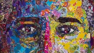 Man Creates Self Portrait Using Commercial Stickers - Video