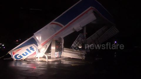 Hurricane Florence winds collapse roof of gas station in Fort Mill, South Carolina