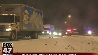 Multiple crashes reported due to snowy conditions - Video