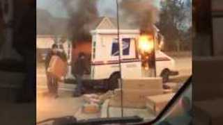 Postwoman Saves Packages From Burning US Mail Truck - Video