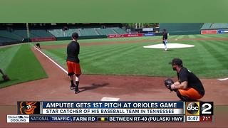Amputee participates in 1st pitch at Orioles game - Video