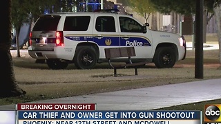 Phoenix car thief and owner get into shootout before the suspect was shot - Video