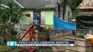 Caregiver arrested after bedridden 80-year-old found lying in human and animal feces - Video