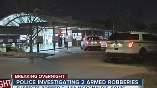 Tulsa Police investigate two overnight armed robberies - Video