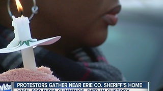 Rally outside of Erie County Sheriff Timothy Howard's home for inmate's death - Video