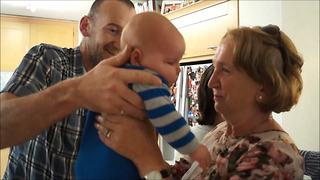 Grandparents Meet Their First Grandchild For The First Time - Video