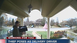 Thief poses as delivery driver to steal package from porch - Video
