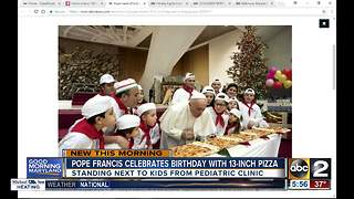 Pope Francis enjoys pizza for 81st birthday - Video