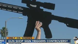 Gun shop sign triggers controversy - Video