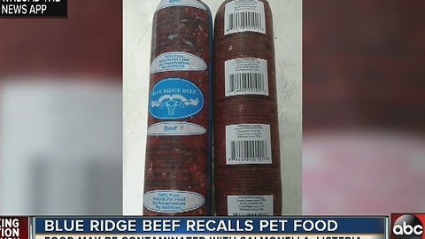 Blue Ridge Beef recalls pet food due to possible Salmonella, Listeria