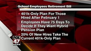 Michigan to steer new school workers into 401(k)-only plan - Video