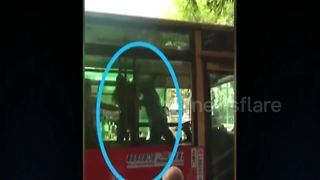 Driver climbs into bus to slap driver after argument - Video