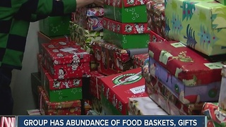 Non-profit has an abunace of holiday baskets to hand out to families this Christmas - Video
