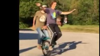 Riding a Tandem Unicycle Looks Very Tricky - Video