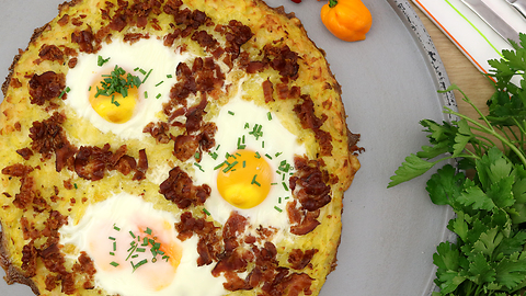 Delicious breakfast hash browns with eggs